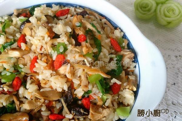 麻香鸡丝菜饭的做法