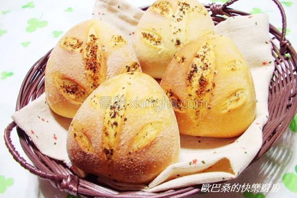 罗勒蒜香三角面包的做法