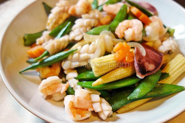 甜豆炒海鲜的做法