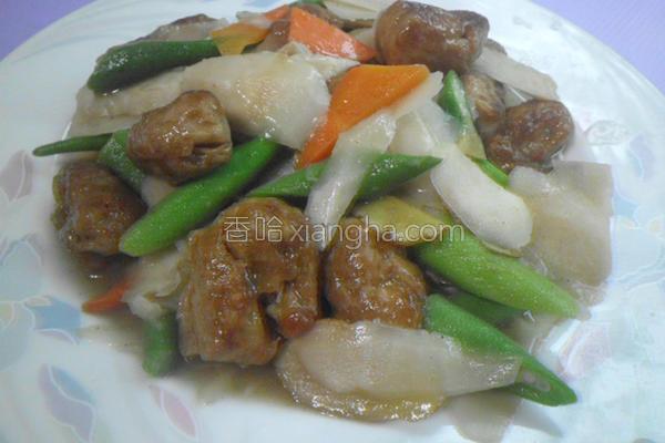 酸笋片儿烩素肉块的做法