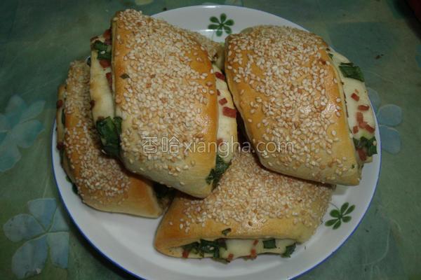 烤葱花火腿卷饼的做法