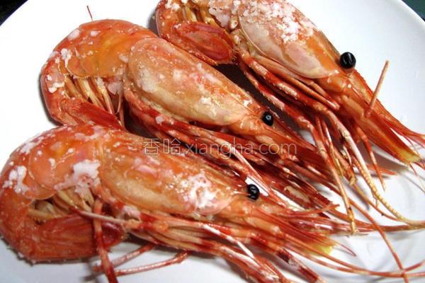 盐烤牡丹虾的做法