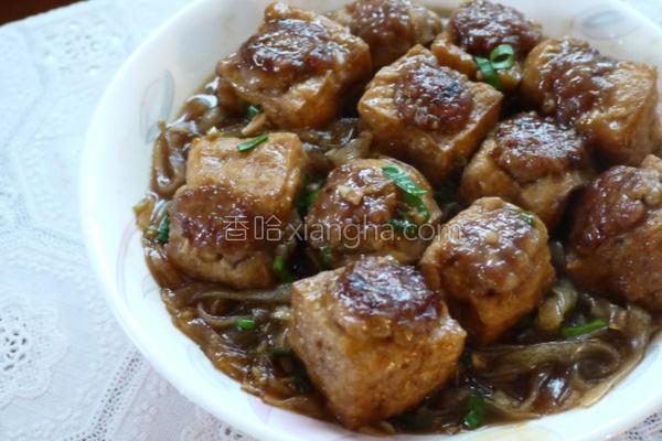 油豆腐镶肉烩粉条的做法