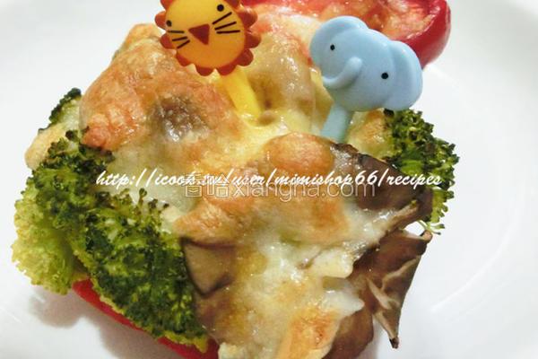 双菇焗彩椒