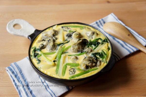 牡蛎洋芋菠菜烘蛋的做法