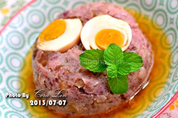 镜头脆瓜咸蛋蒸肉的做法