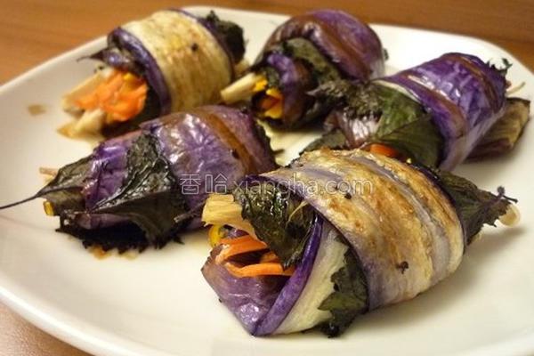 茄子紫苏卷的做法
