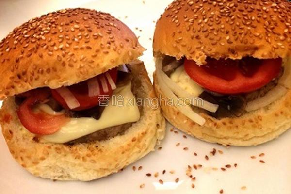 经典起司磨菇汉堡的做法