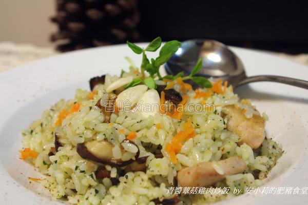 蕈菇鸡肉青酱炒饭的做法