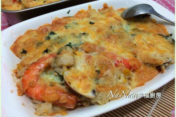 焗烤海鲜炖饭的做法