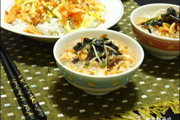鲑鱼汤泡饭的做法
