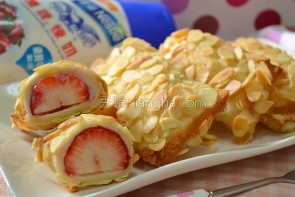 杏仁草莓卷的做法