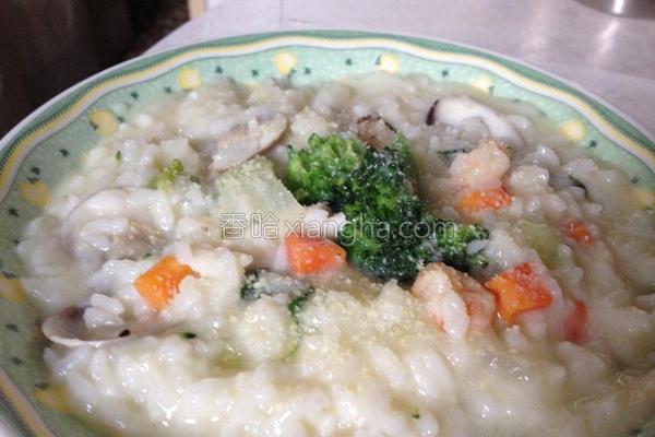 起司海鲜炖饭的做法