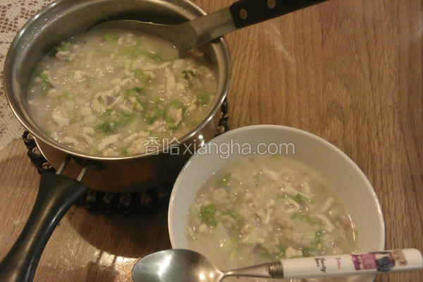 小白菜鸡肉粥