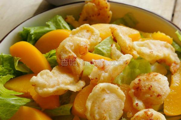 虾米花蜜桃沙拉的做法
