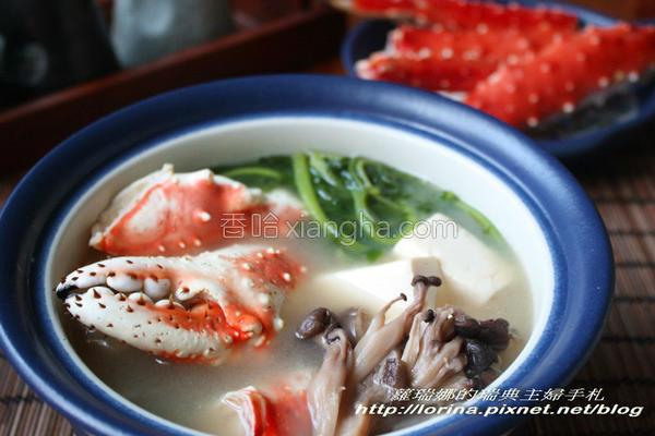 帝王蟹味噌火锅的做法