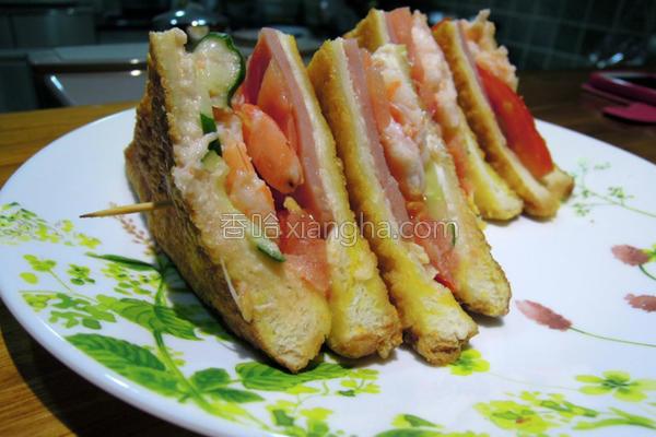 鲜虾三明治的做法