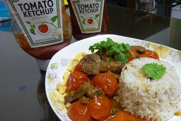 滑蛋番茄牛肉饭的做法