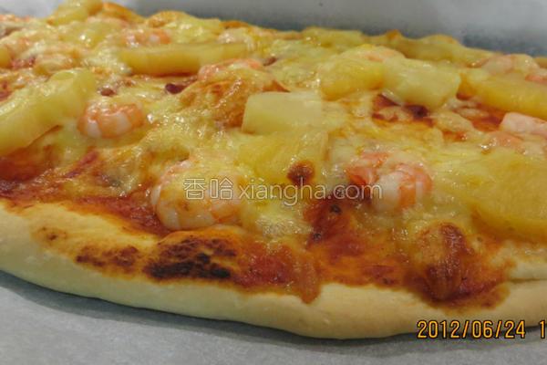 起司虾仁比萨的做法
