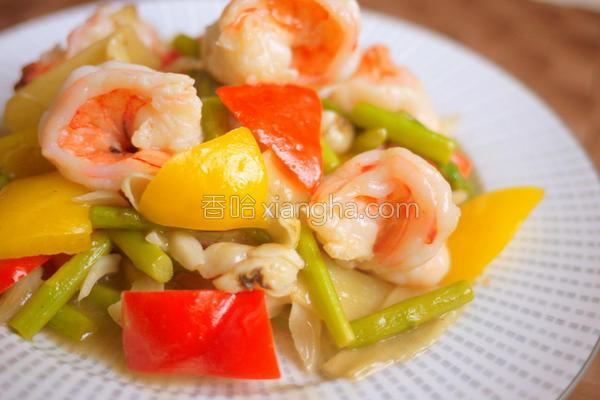 百合芦笋烩虾仁的做法