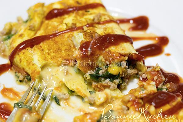 波菜碎肉起司蛋卷的做法