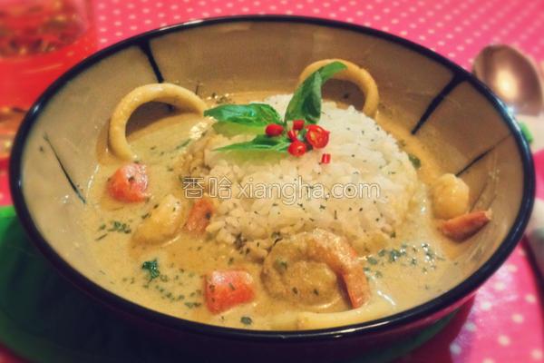 椰汁海鲜绿咖喱的做法