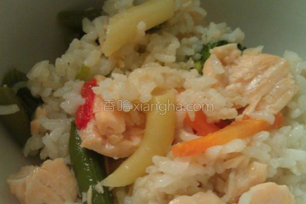 简易鲑鱼蔬菜饭的做法