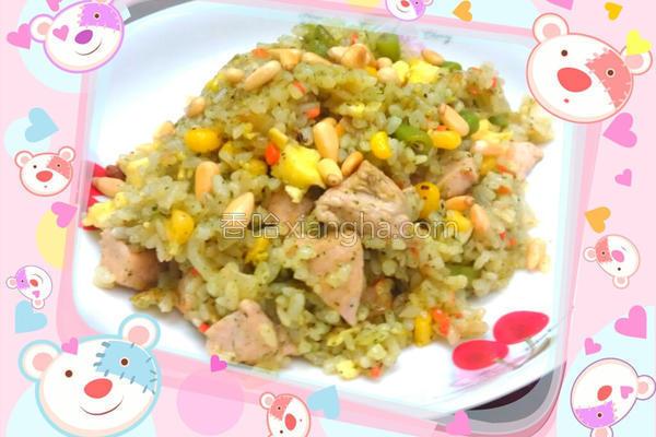 松子青酱鸡肉炒饭的做法