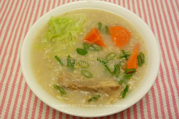 糙米排骨蔬菜粥的做法