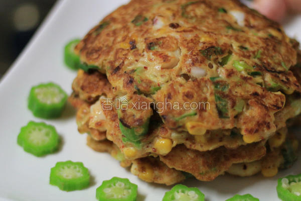 秋葵海鲜煎饼的做法