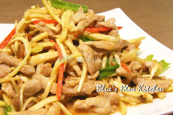 黄豆豉筊白笋肉丝的做法