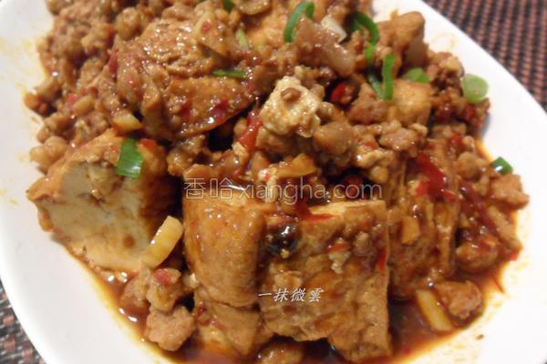 肉末酱烧油豆腐的做法