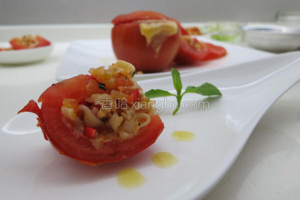烤番茄蔬菜面盅的做法