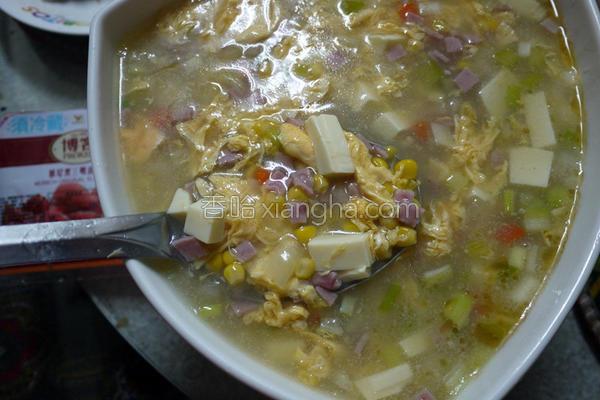 火腿玉米蛋花汤的做法