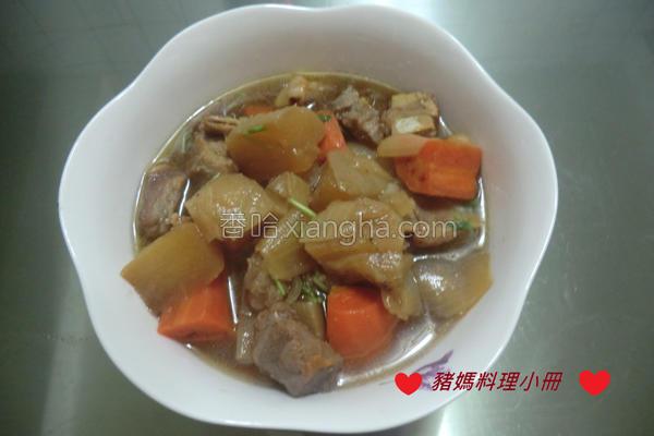双色萝卜炖肉的做法