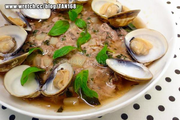 塔香蛤蜊蒸肉饼的做法