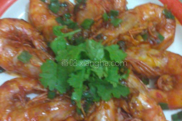 干烧茄汁明虾的做法