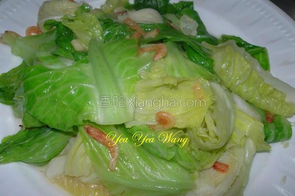 樱花虾炒高丽菜苗的做法
