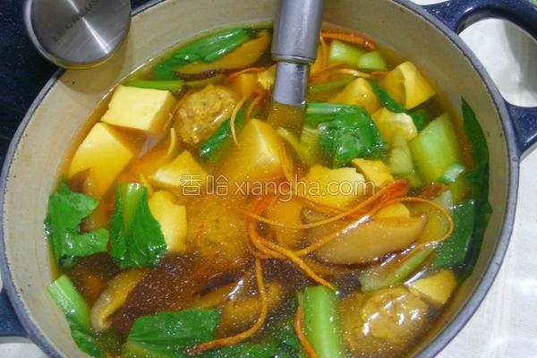 香菇虫草肉丸清汤的做法