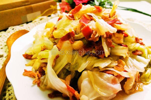 酒香培根炒高丽菜的做法