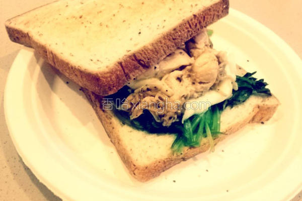 鸡肉菠菜三明治的做法