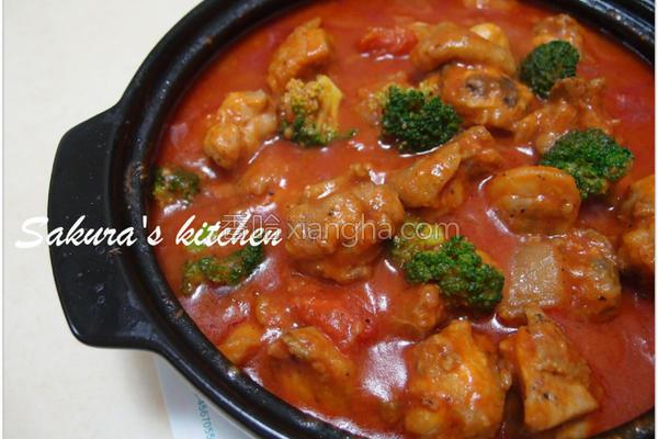 鲜茄烧鸡的做法
