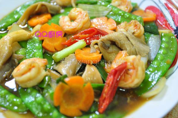 虾仁烩鲜蔬的做法