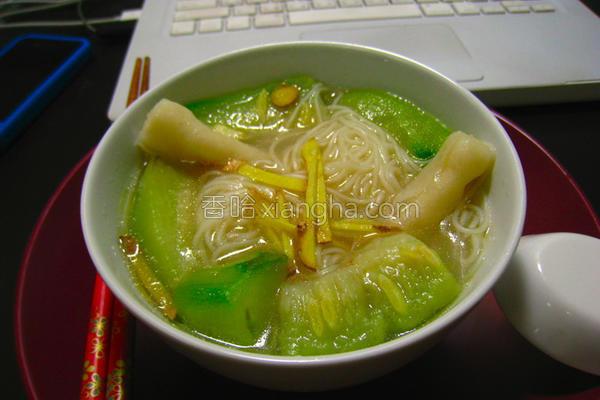 丝瓜墨鱼饺面线的做法