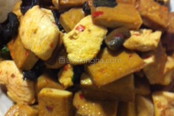 香辣塔香豆干鸡肉的做法