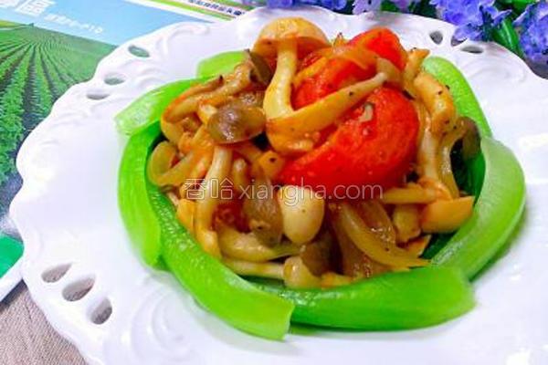牛番茄炒双菇的做法