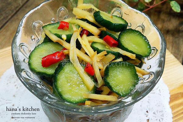 凉拌姜丝小黄瓜的做法