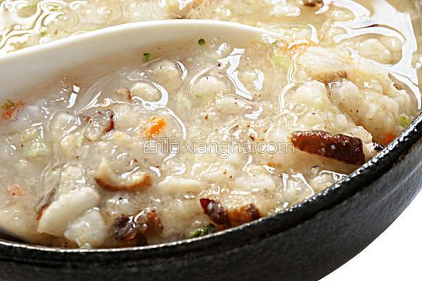 蒜香鸡茸粥的做法