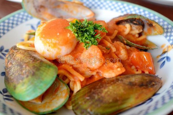 海鲜番茄意大利面的做法