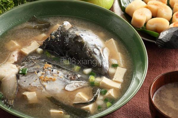 日式鲑鱼头味噌汤的做法